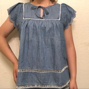 GAP Eyelet Flutter Sleeve Embroidered Chambray Top